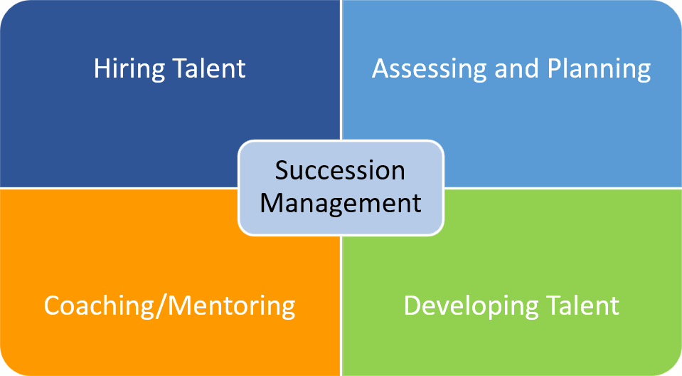 Succession management includes hiring the talent, assessing and planning, coaching and developing talent